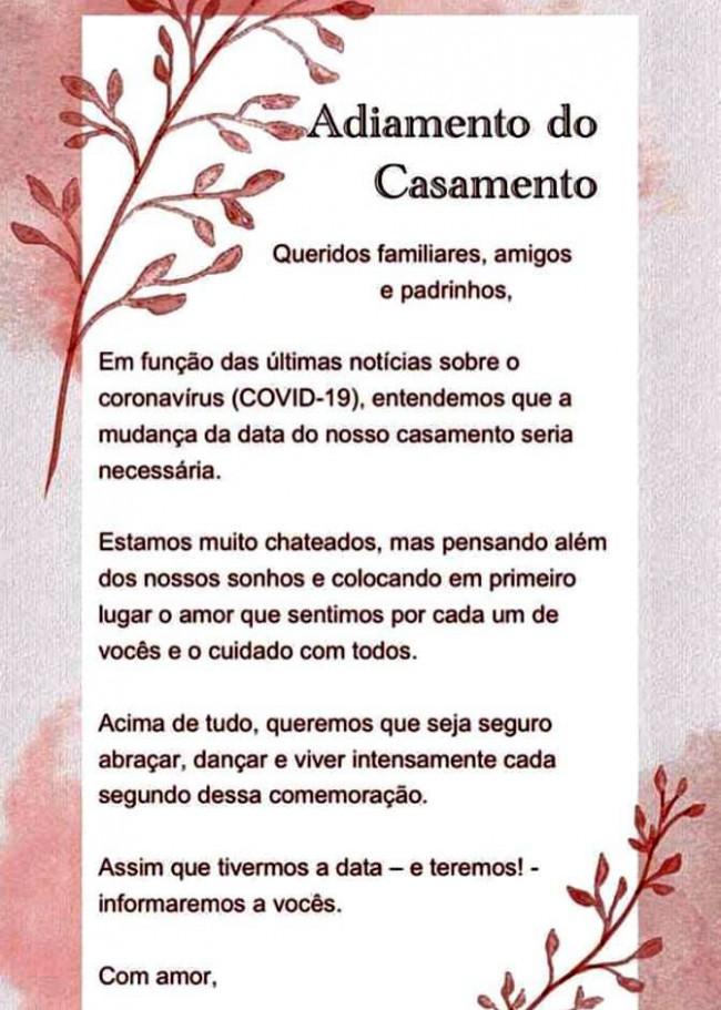 ADIAMENTO DE CASAMENTO